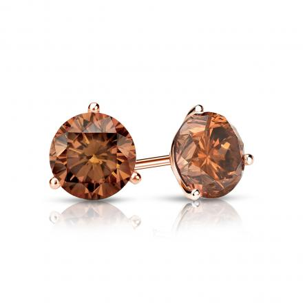 Certified 14k Rose Gold 3-Prong Martini Round Brown Diamond Stud Earrings 0.75 ct. tw. (Brown, SI1-SI2)