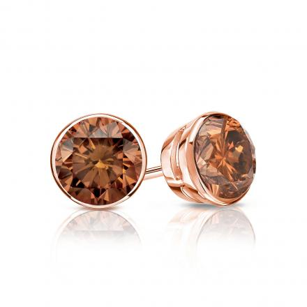 Certified 14k Rose Gold Bezel Round Brown Diamond Stud Earrings 0 75 Ct Tw