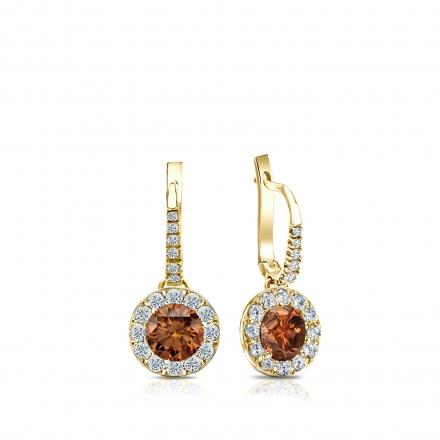 Certified 18k Yellow Gold Dangle Studs Halo Round Brown Diamond Earrings 0.75 ct. tw. (Brown, SI1-SI2)