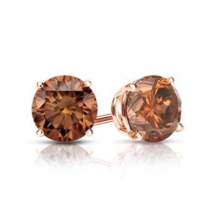 Certified 14k Rose Gold 4-Prong Basket Round Brown Diamond Stud Earrings 1.00 ct. tw. (Brown, SI1-SI2)