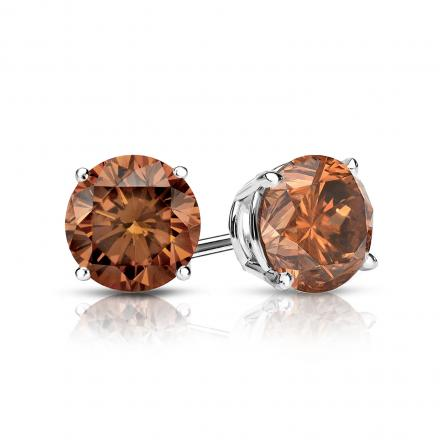 3e0e4c91db20d Certified 14k White Gold 4-Prong Basket Round Brown Diamond Stud Earrings  1.00 ct. tw. (Brown, SI1-SI2)