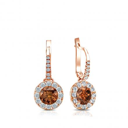 Certified 14k Rose Gold Dangle Studs Halo Round Brown Diamond Earrings 1.00 ct. tw. (Brown, SI1-SI2)