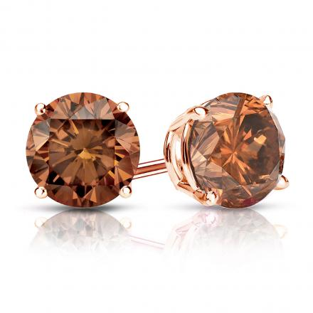Certified 14k Rose Gold 4-Prong Basket Round Brown Diamond Stud Earrings 1.50 ct. tw. (Brown, SI1-SI2)