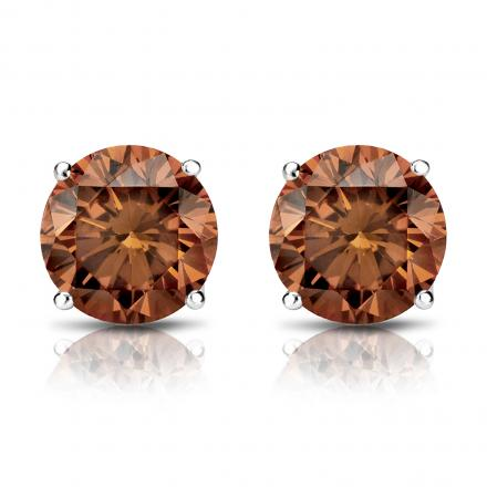 Certified 14k White Gold 4 G Basket Round Brown Diamond Stud Earrings 1 50 Ct Tw Si1 Si2