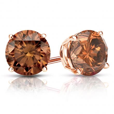 Certified 14k Rose Gold 4-Prong Basket Round Brown Diamond Stud Earrings 2.50 ct. tw. (Brown, SI1-SI2)