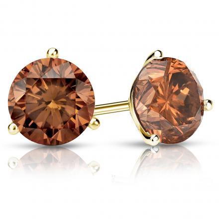 Certified 14k Yellow Gold 3-Prong Martini Round Brown Diamond Stud Earrings 3.00 ct. tw. (Brown, SI1-SI2)