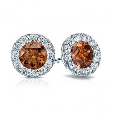 Certified 18k White Gold Halo Round Brown Diamond Stud Earrings 2.50 ct. tw. (Brown, SI1-SI2)