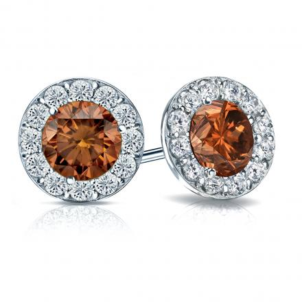 90df85bfe0ccf Certified 14k White Gold Halo Round Brown Diamond Stud Earrings 3.00 ct.  tw. (Brown, SI1-SI2)