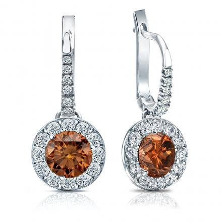 Certified 14k White Gold Dangle Studs Halo Round Brown Diamond Earrings 3 00 Ct Tw