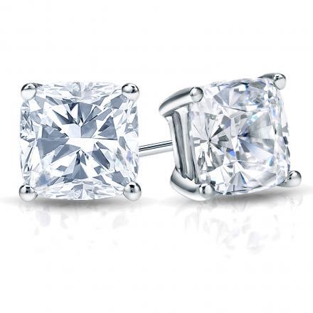6e6799ed111 EGL USA Certified Cushion-Cut Diamond Stud Earrings in 14k White Gold  4-Prong