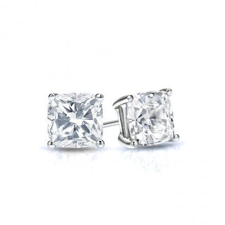 Certified 18k White Gold 4-Prong Basket Cushion Cut Diamond Stud Earrings 0.50 ct. tw. (I-J, I1-I2)
