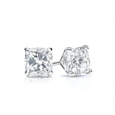 Certified 14k White Gold 4 G Martini Cushion Cut Diamond Stud Earrings 0 50 Ct