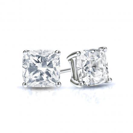 Certified 14k White Gold 4-Prong Basket Cushion Cut Diamond Stud Earrings 0.75 ct. tw. (E-F, VS1-VS2)