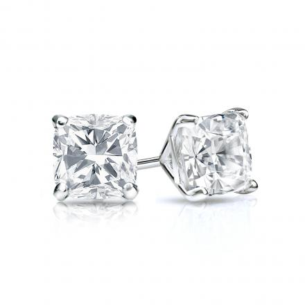 Certified 14k White Gold 4 G Martini Cushion Cut Diamond Stud Earrings 0 75 Ct