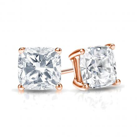 Certified 14k Rose Gold 4 G Basket Cushion Cut Diamond Stud Earrings 1 00 Ct
