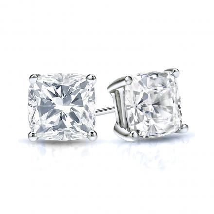 Certified 14k White Gold 4 G Basket Cushion Cut Diamond Stud Earrings 1 00 Ct