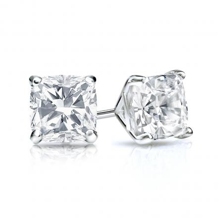 0303387c8 Certified 14k White Gold 4-Prong Martini Cushion Cut Diamond Stud Earrings  1.00 ct. tw. (G-H, SI1) - DiamondStuds.com