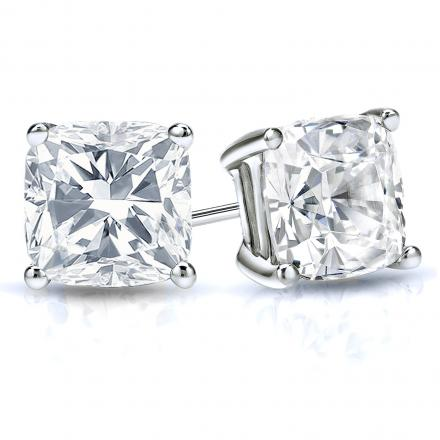 Certified 14k White Gold 4-Prong Basket Cushion Cut Diamond Stud Earrings 2.00 ct. tw. (H-I, SI2-SI3)