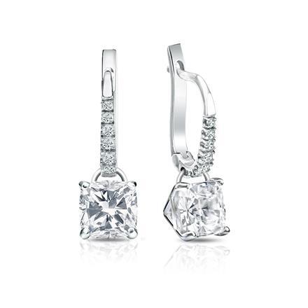 Certified 14k White Gold Dangle Studs 4-Prong Martini Cushion Cut Diamond Earrings 2.00 ct. tw. (I-J, I1-I2)