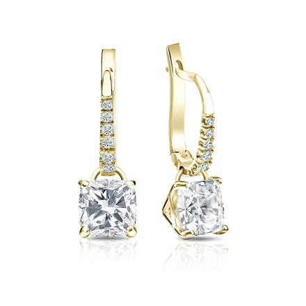 Certified 14k Yellow Gold Dangle Studs 4-Prong Martini Cushion Cut Diamond Earrings 2.00 ct. tw. (I-J, I1-I2)