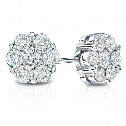 a31dfe91c6b8f 14k White Gold Prong-Set Cluster Round Diamond Earring 0.75 ct. tw. (H, SI1)