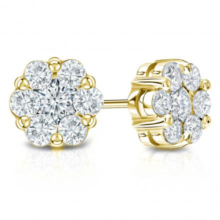 14k Yellow Gold Prong-Set Cluster Round Diamond Earring 0.75 ct. tw. (H, SI1)