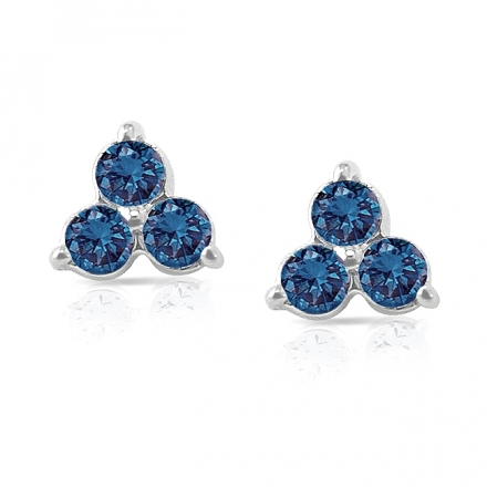 14k White Gold 3-Stone Blue Round-Cut Diamond Earrings 0.50 ct. tw. (SI1-SI2)