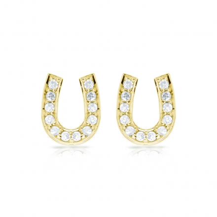 10k Yellow Gold Horseshoe Shaped Round-Cut Diamond Earrings 0.10 ct. tw. (H-I, I1-I2)