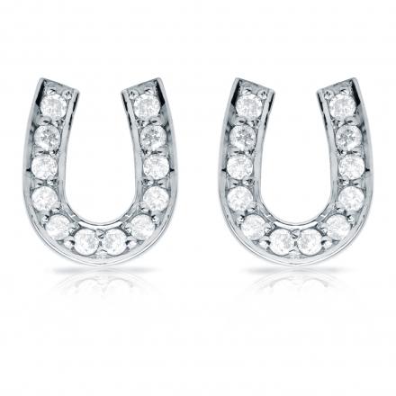 10k White Gold Horseshoe Shaped Round-Cut Diamond Earrings 0.33 ct. tw. (H-I, I1-I2)