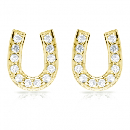 10k Yellow Gold Horseshoe Shaped Round Cut Diamond Earrings 0 33 Ct Tw