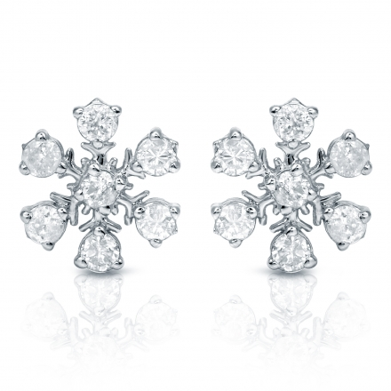 10k White Gold Snowflakes Round Cut Diamond Earrings 0 33 Ct Tw I J I1 I2