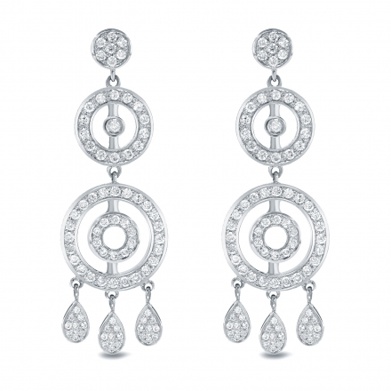 14k White Gold 1 2ct Tw Diamond Chandelier Earrings H I Si1