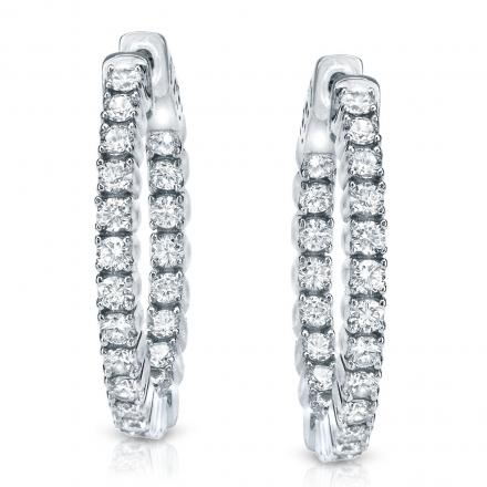14k White Gold 4 G Setting Round Diamond Hoop Earrings 2 00 Ct Tw