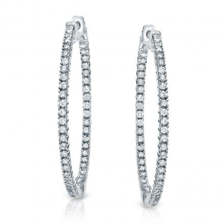 14k White Gold Extra Large Round Diamond Hoop Earrings 4 10 Ct Tw H I Si1 Si2 2 28 Inch 58mm