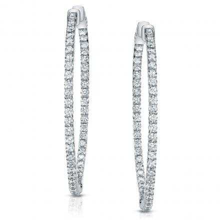 14k White Gold Shared G Setting Round Diamond Hoop Earrings 3 00 Ct Tw
