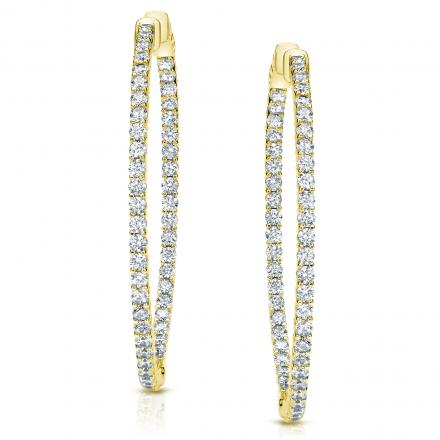 14k Yellow Gold Shared G Setting Round Diamond Hoop Earrings 3 00 Ct Tw