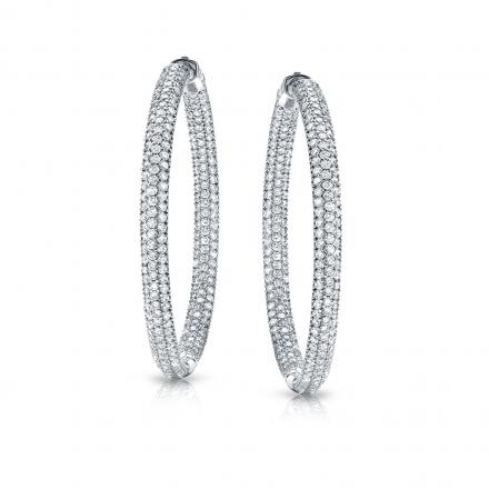 14k White Gold Micro Pave Setting Round Diamond Hoop Earrings 2 00 Ct Tw