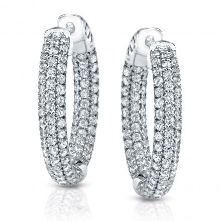 14k White Gold Micro Pave Setting Round Diamond Hoop Earrings 3 50 Ct Tw