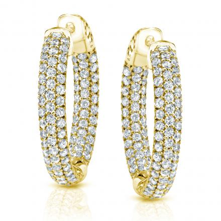 14k Yellow Gold Large Micro Pave Round Diamond Hoop Earrings 3 50 Ct Tw H I Si1 Si2 2 Inch 8mm