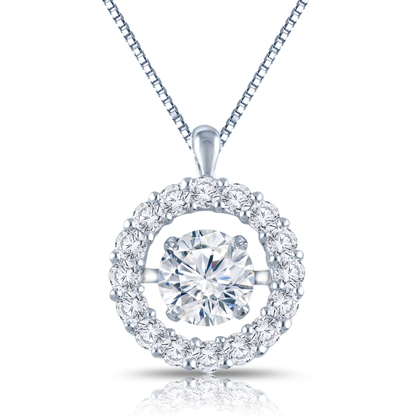 RhythmRocks® 14k White Gold Dancing Stone 1 1/2ct TDW Round Diamond Halo Circle Pendant (H-I, I1)