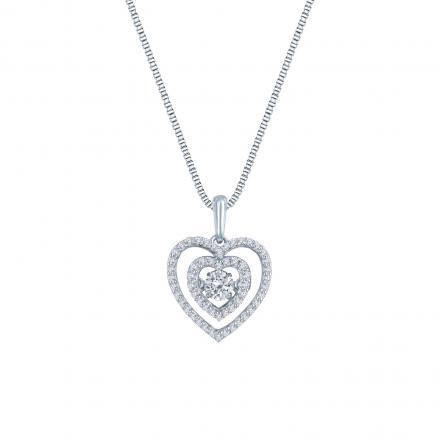 Beating-Heart Dancing Stone Diamond Pendant