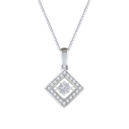 diamond ir cut set halo with chain pendant princess