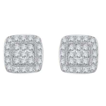 Certified 10k White Gold Round Cut White Diamond Earrings 0.40 ct. tw.
