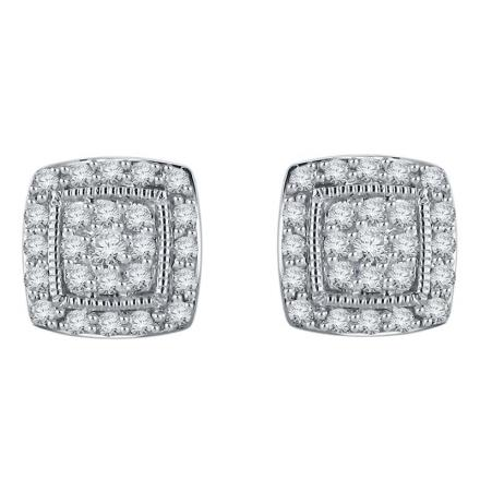 Certified 10k White Gold Round Cut White Diamond Earrings 0.50 ct. tw.