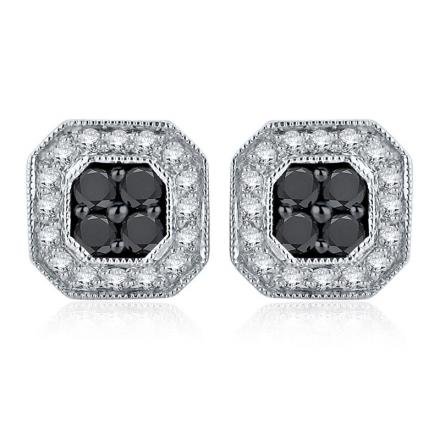 Certified 10k White Gold Black & White Round Cut Diamond Earrings 0.75 ct. tw.
