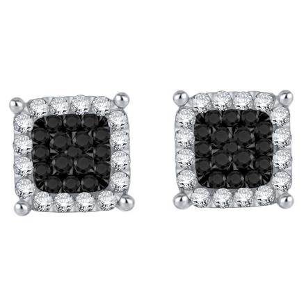 Certified 10k White Gold Black & White Round Cut Diamond Earrings 0.40 ct. tw.