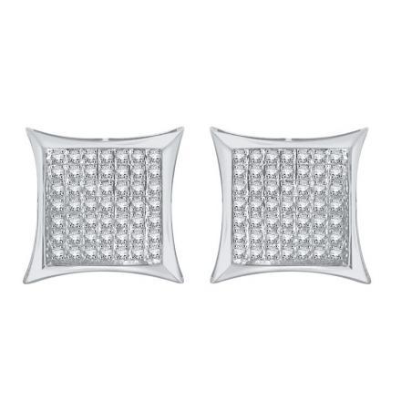 Certified 10k White Gold Round Cut White Diamond Earrings 0.38 ct. tw.