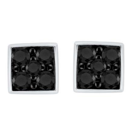 Certified 10k White Gold Black Round Cut Diamond Earrings 0.50 ct. tw.