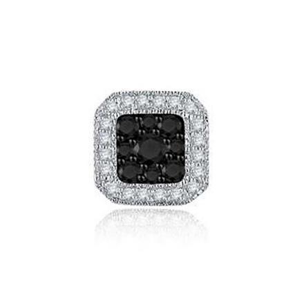 Certified 10k White Gold Black & White Round Cut SINGLE Diamond Earring 0.25 ct. tw.