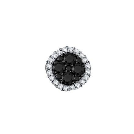 Certified 10k White Gold Black & White Round Cut SINGLE Diamond Earring 0.63 ct. tw.